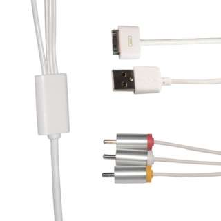 AV USB TV RCA Video Cable Cord for iPhone 4G 4GS iPod Nano touch Ipad