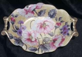 Noritake 2 handle bowl dish   Green M mark   Hand painted pink purple