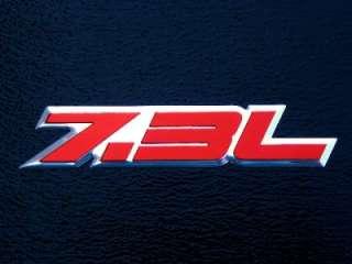 F250 F350 POWERSTROKE 7.3L TURBO DIESEL ENGINE EMBLEMS BADGE RED PAIR