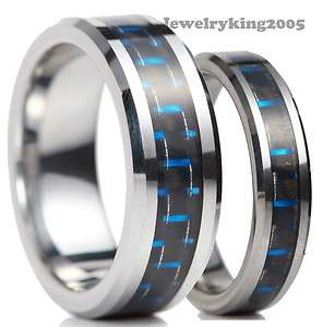 New Tungsten Carbide Ring His & Her Wedding Band w Black & Blue Carbon