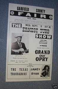 1973 COLORCRAFT ERNEST TUBB JAMEY RYAN Concert Poster