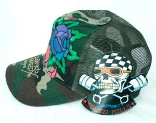 ED HARDY DESIGN CAMO GREEN BROWN ETERNAL LOVE WOMENS TRUCKER HAT CAP