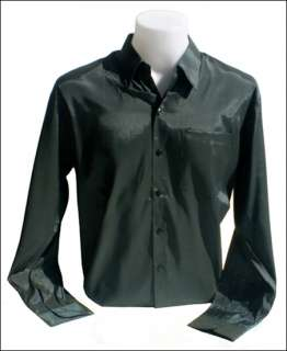 THAI SILK LONG~SLEEVE MENS BLACK DRESS SHIRT SIZE ~ XL