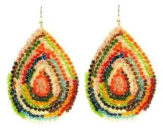 Lavish Tricia Milaneze Gold Multi Color Chandelier Earrings Crystal