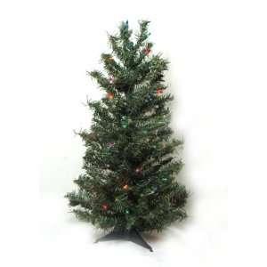 Pre Lit Canadian Pine Artificial Christmas Tree   Multi Color Lights