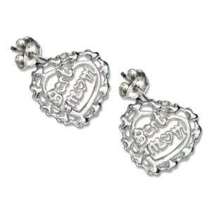 Sterling Silver Best Mom Heart Earrings. Jewelry