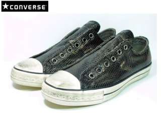 CONVERSE BY JOHN VARVATOS CHUCK TAYLOR BLACK TEXTURED LEATHER SNEAKERS