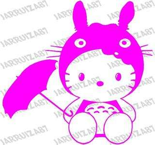 DESIGNED VINYL HELLO KITTY IN TOTORO COSTUME DECAL FOR YOUR VEHICLE