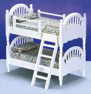 Dollhouse Miniature White Spindle Bunk Bed