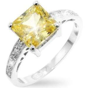 Canary Yellow Created Diamond Princess Square Cut Solitaire Ring 5
