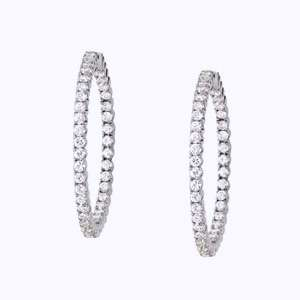 50 carat total Round Diamond 14k White Gold HOOP Earrings F color VS