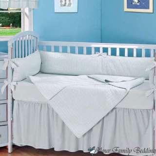 Baby Boy Blue Solid Crib Infant Kid Nursery Bedding Set