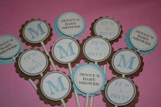 Chocolate Brown Boy Theme Baby Shower Monogram Cupcake & Cake Toppers