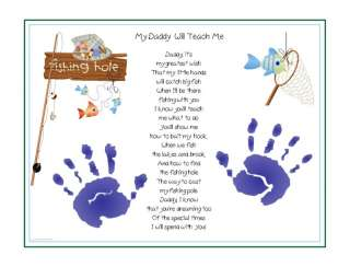 Me~FISHING Poem Print Baby / Child Handprints Unique Christmas Gift