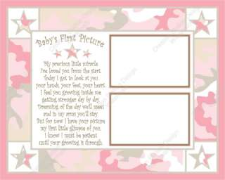 Pink and Khaki Camo Babys Sonogram Print with Poem