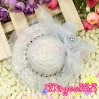Girls Fashion Fascinator Mini Top Hat Hair Clamp Bow Clip New