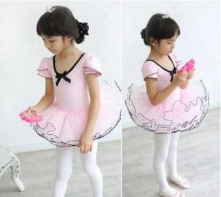 Girls Party Fairy Ballet Dance Costume Tutu Dress Short Sleeve Shirt 3