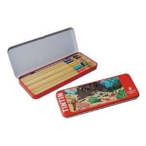 OF TINTIN RED METAL PENCIL BOX WITH 8 TINTIN PENCILS