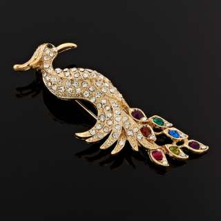 Fashion Xmas Gift Jewelry Peacock Shape 18K Gold GP Lady Girls Brooch