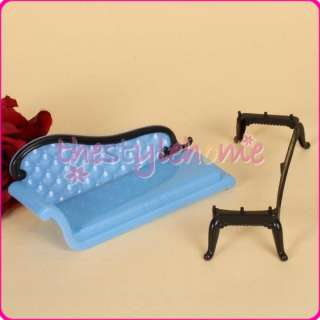Blue Barbie Sized dollhouse Furniture Chaise Lounge attractive Sofa