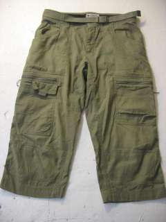 Mens 32 Capri Pants Knickers Shorts Titanium Khaki Green Cargo