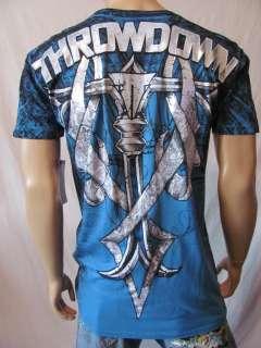 New THROWDOWN Premium Mens Blue S/S Skull Crew Zero Tee Shirt Top
