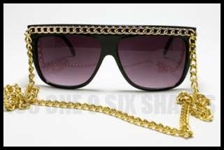 Celebrity Pop Star Fat GOLD CHAIN Sunglasses Flat Top BLACK Oversized