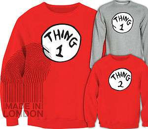 Thing 1 Thing 2 The Cat in the Hat Dr Seuss Sweatshirt Sweater Top T