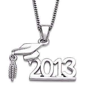 Sterling Silver Graduate Cap and Year Necklace 2013 Jewelry