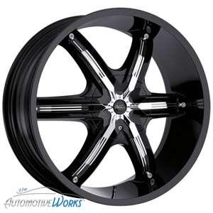 New 22x9.5 Milanni Bel Air 6 Gloss Black w/ Chrome Insert Wheels