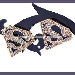 Punk Rock Women Crystal Superman Batman Symbol Ear Studs/ Ring