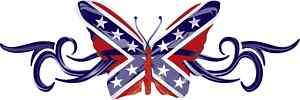 REBEL FLAG BUTTERFLY BUMPER STICKER DECAL STARS & BARS