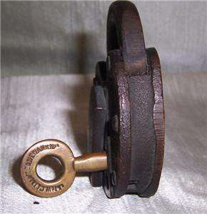 PAD LOCK W/ KEY Cast Iron Metal JHW CLIMAX CO Newark, NJ 1800s