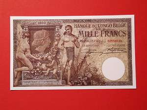 Reproduction Belgian Congo 1000 Francs 1920