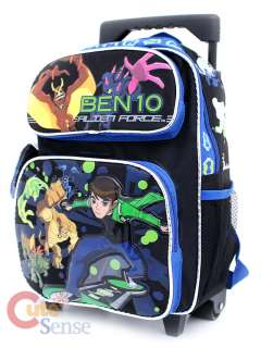 Ben 10 Alien Force Roller School Backpack Rolling Bag  12in Blue