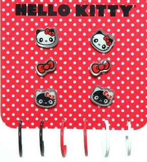 HELLO KITTY~ PANDA 6 PACK PLUS HOOPS PIERCED EARRINGS