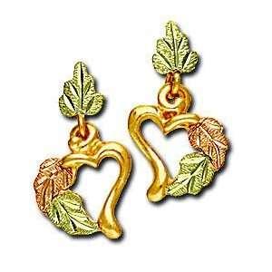 Landstroms Black Hills Gold Double Heart Earrings   01333 Jewelry