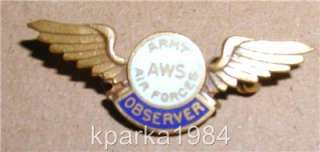 WW2 US ARMY AIR FORCES AWS OBSERVER WINGS  STERLING