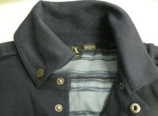 125.00 Armani Exchange men navy collar jacket sport coat beaded logo