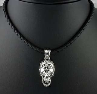 ELITE GOD SKULL DIAMOND 925 SILVER LEATHER NECKLACE