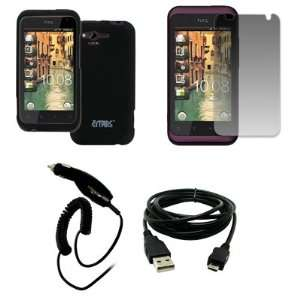 EMPIRE Verizon HTC Rhyme Black Rubberized Hard Case Cover