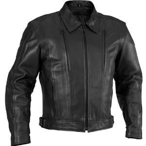 River Road Cruiser Black Leather Motorcycle Jacket Black