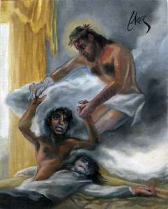 Michael Jackson MJ Jesus Christ Not Alone Art Painting Kitsch Lacey