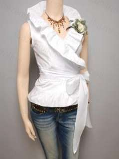 Flounce Ruched Wrap Sleeveless Cardigan Top S M L XL