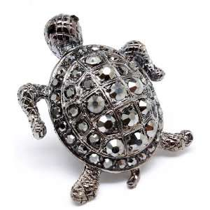 Turtle bling bling gunmetal Crystal Cocktail ring