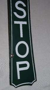 Porcelain 2 Sided Bus Stop Sign Greyhound City Taxi Cab Transit