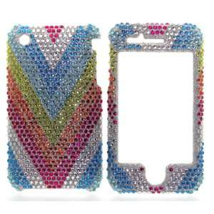 Silver with Blue Yellow Orange Pink Rainbow Wave Apple Iphone 3G 3GS