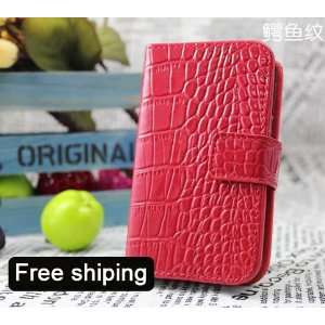 Red Genuine Leather Flip Wallet Case Cover for the Samsung