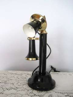 Black Gold Candlestick Telephone Tole Table Desk Lamp  Works