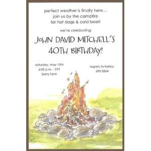 Bonfire, Custom Personalized Adult Birthday Party Invitation, by